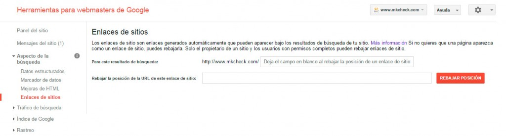enlaces de sitio de webmaster tools